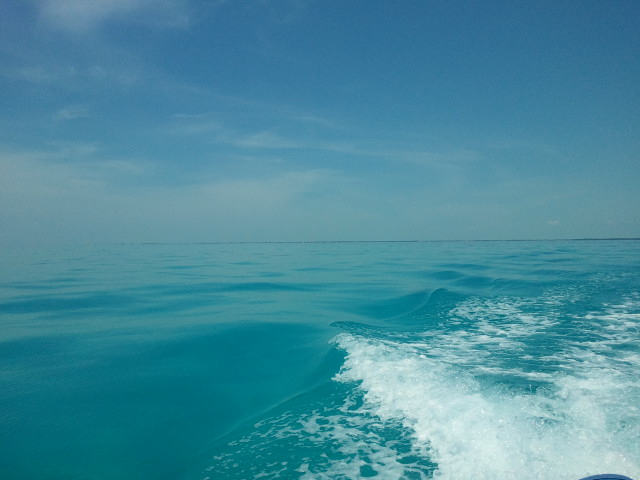 Flat open ocean